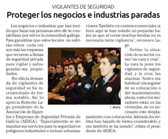 """Noticia aparecida en """"El faro de Vigo"""" (1 de abril del 2020)"""